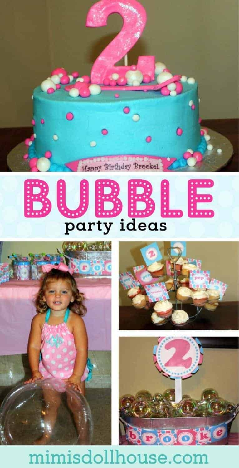 Looking for Bubble Party Ideas? Bubble Party: Brooke's Bubblicious Birthday Party. Want one sure fire way to excite any little person? Bubbles! They are like magic popping balls of fun! Check out these cute and easy Bubble Birthday Ideas