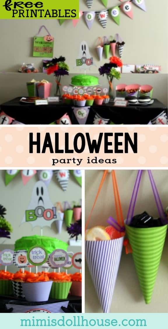 Halloween: FREE Halloween Party Printables.  Celebrate Halloween in style with these awesome FREE Halloween printable decorations. This fun and bright party is perfect for entertaining the kids this Halloween. #parties #holidays #diyandcrafts #diy #crafts #partyprintables #desserts #diyhomedecor #halloween #halloweenparty #freeprintables