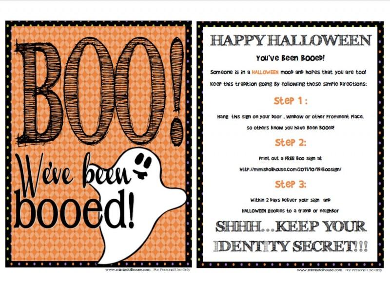 photograph regarding Happy Halloween Signs Printable titled Printable Halloween Boo Signal + Guidelines Mimis Dollhouse