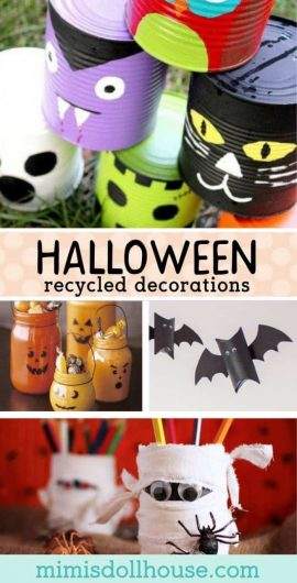 Green Halloween: Recycled Decorations for Halloween. There are so many awesome ways to use recycled items to decorate for Halloween. I'm sharing some of my favorites today!  #parties #diy #crafts #diyandcrafts #holiday #halloween #fall