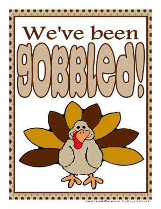 picture about Closed for Thanksgiving Sign Printable identify Thanksgiving: No cost Gobbled! Indicator Mimis Dollhouse