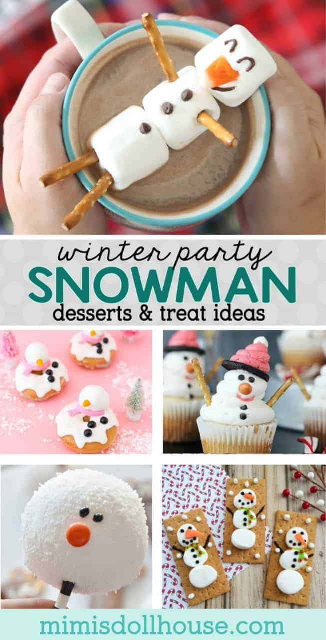 Winter Party: Snowman Desserts and Easy Snowman Treats. If winter days make you long to build a snowman, then snowman desserts and easy snowman treats are the warmest and yummiest holiday ideas!! Check out all the the adorable snowmen desserts and snowman themed inspiration! #parties #holiday #winter #christmas #snowman #recipe #desserts #baking #kids #kidparties #frozen