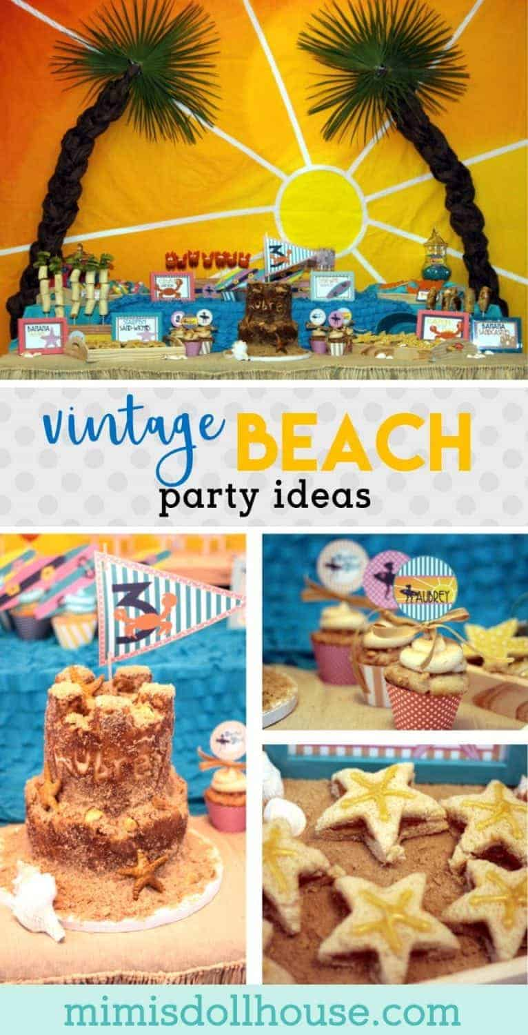 Throwing a beach party and looking for inspiration? This fun and colorful vintage beach party is full of beach party treat and beach party ideas for decoration to inspire you.