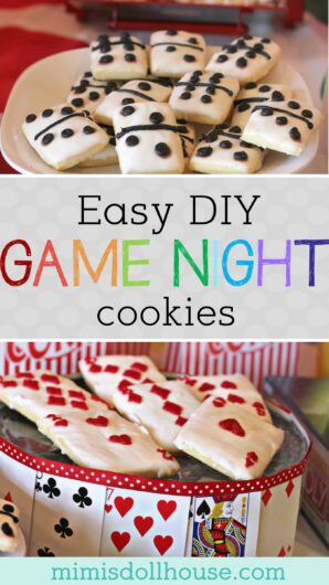 simple cookies for a game night that look like dice and playing cards