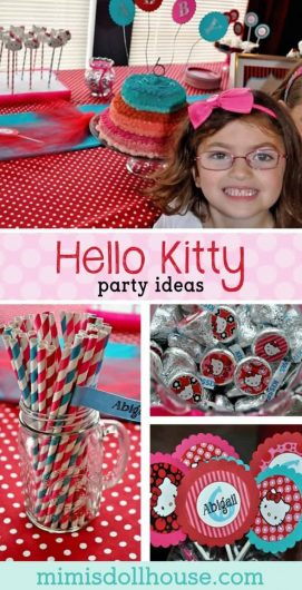 Hello Kitty Party Decorations : Abigail's Purr-fect Party.  Have a little girl who loves Hello Kitty?  Today I'm sharing a cute party with sweet Hello Kitty party decorations and some tips and ideas for throwing a Hello Kitty party! Be sure to check out this adorable Hello Kitty Party, this Nerd Hello Kitty party and all our Hello Kitty party ideas!