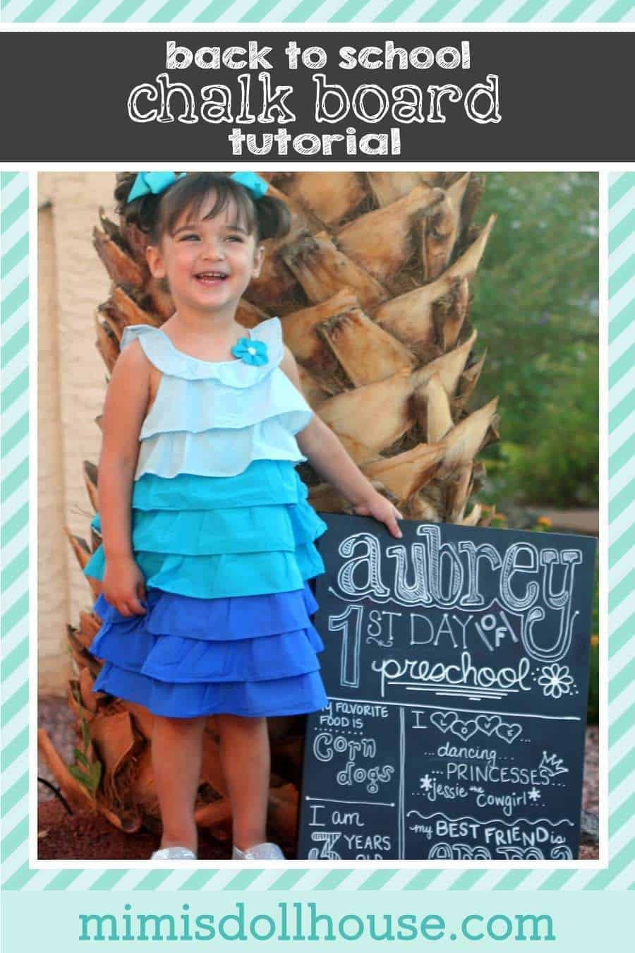 Back to School: Aubrey's First Day of School Sign Tutorial. Celebrate your little ones big milestones with a fun and easy to create chalkboard sign. I'm sharing this quick and simple tutorial. Be sure to check out all our craft tutorials ans DIY ideas.