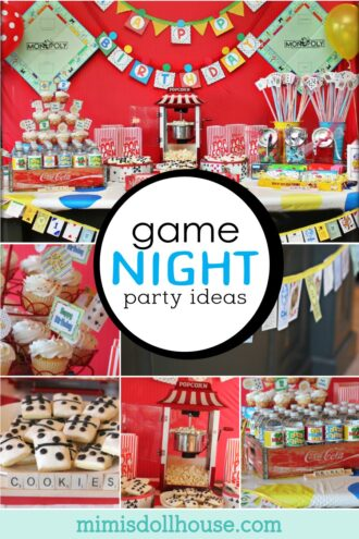 game night party decorations that include monopoly money garland and twister mat tablecloths