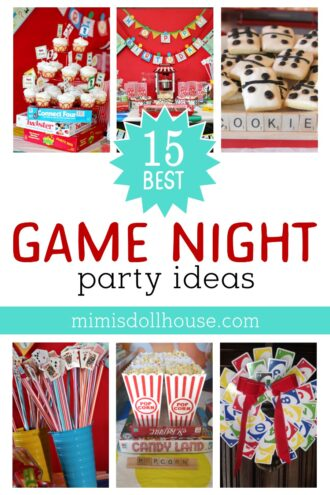 ideas for throwing a game night party like board game serving trays and playing card cookies
