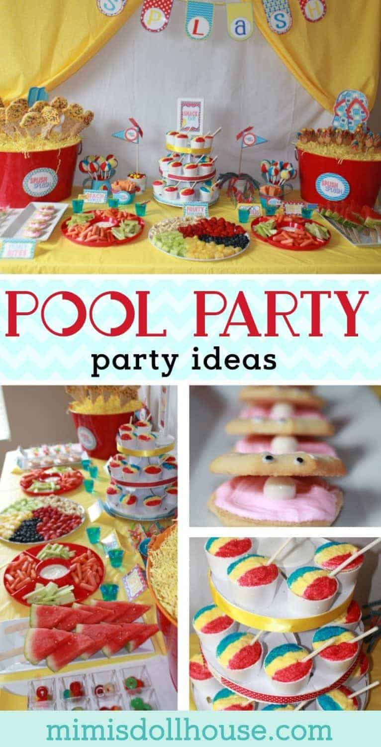 Summer Pool Party Ideas: Splish Splash Bash. Dive into the fun with some Summer Pool Party ideas. What's better for summer than some fun in the pool? Be sure to check out all of our Pool Party Ideas as well as all our Beach Party Ideas and Under the Sea Ideas. #poolparty #pool #party #parties #partyideas #kids #summer #birthday #treats #diy #baking