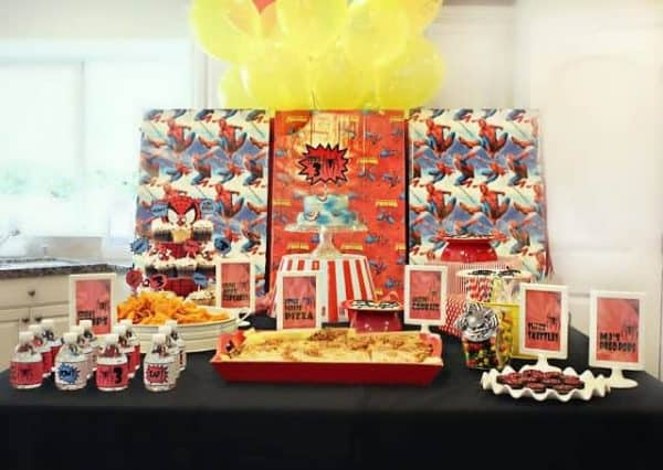 Superhero Party: Brock's Vintage Spiderman Birthday Party. Calling all superheroes to this Amazing Spiderman Birthday Party! This superhero party is full of DIY spiderman ideas and DIY superhero ideas! #superhero #spiderman #boys #birthday #party #parties #partyideas