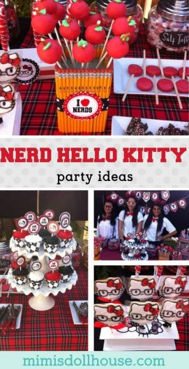 Hello Kitty Party: Allie's Nerd Hello Kitty Birthday Bash.  Have a tween who loves nerdy Hello Kitty?  Why not throw a Hello Kitty party, nerd style?  Be sure to check out all of our Hello Kitty inspired party ideas!