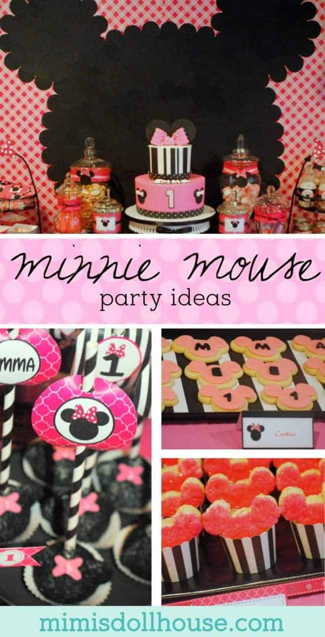 Minnie Mouse Party: Modern Pink Minnie Mouse Birthday.  Here is a fun twist on the classic Minnie Mouse birthday with some black and white and pretty pink! There is nothing quite like hot pink and Minnie Mouse! #minnie #minniemouse #birthday #girl #party #partyideas #parties #diy #kids #crafts