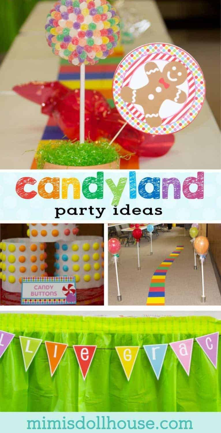 Candyland Party: Ellie and Amelia's Sweet Event. Through gumdrop trees and over chocolate rivers...it's a candy land party Be sure to check out all ourCandyland Party Ideas. #candyland #candy #party #partyideas #parties #birthday
