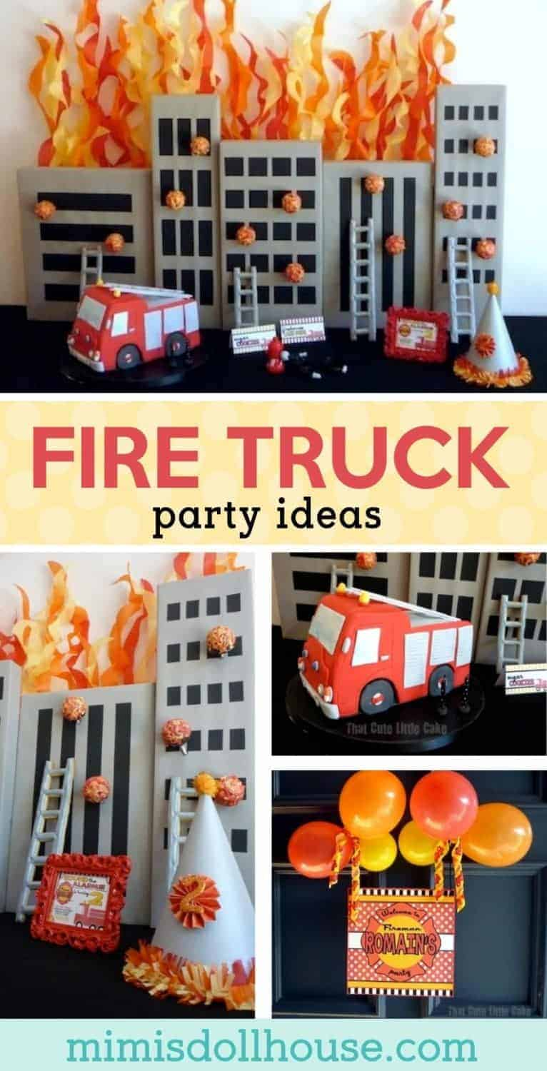 Fireman Party: Romain's Party is on Fire. Sirens are blazing for this adorable Firetruck Party! Be sure to check out all of our Fire party ideas and inspiration. #firetruck #fireman #birthday #boy #party #parties #partyideas #diy