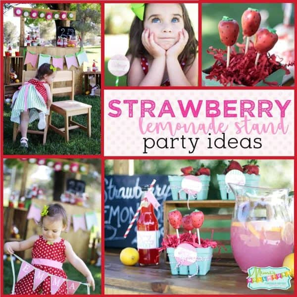 Strawberry Party: Strawberry Lemonade Stand Play Date. Looking for a fun springtime party idea fot your little girls. Why not style a fun strawberry lemonade stand? Today I'm sharing a Strawberry party I decorated for my little girls. Check out this fun lemonade party and all of our spring time party ideas!