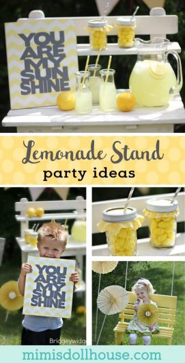 Looking for fun and simple party ideas for spring? This cute DIY lemonade stand is sweet and fun and easy to set up. #birthdayparty #lemonadestand
