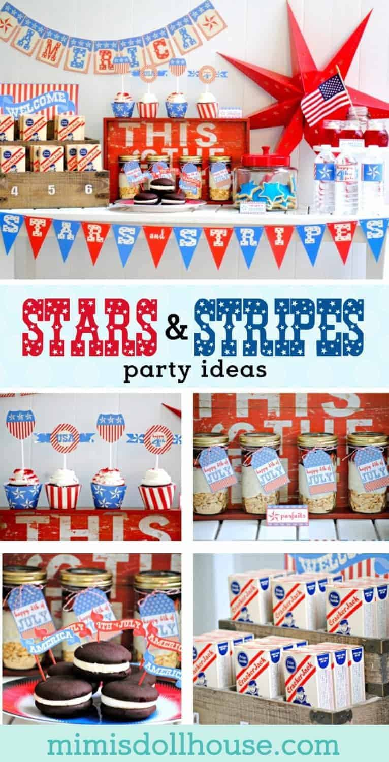 Looking for some fourth of July or memorial day inspiration?  This vintage patriotic party has tons of July 4th ideas, food and more! #fourthofjuly #july4th #memorialday #redwhiteblue #partyideas #summer