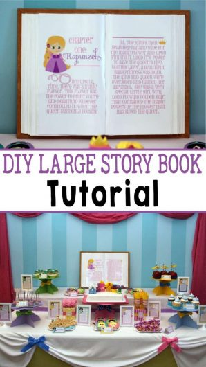 Princess Party: DIY Giant Storybook Tutorial. Here's an easy tutorial for making a large storybook prop or backdrop piece for your princess party. Be sure to also check out the Crown Activity, Castle TutorialandPoison Candied Apple tips. #diy #tutorial #birthday #princess #party #partyideas #parties