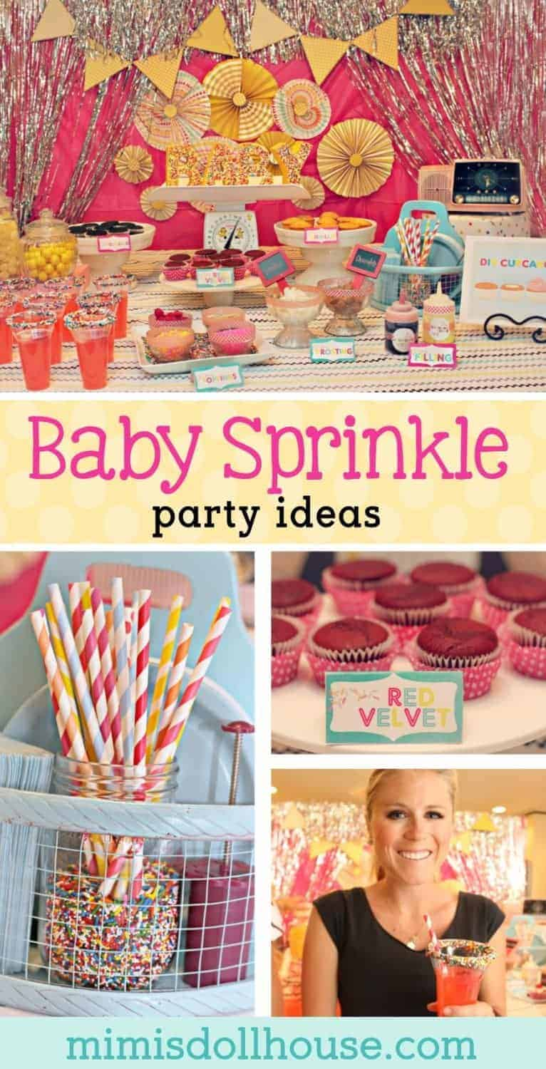 Celebrating a baby?  Want to sprinkle a new mom (or celebrate a second baby)?  This adorable bright colored baby sprinkle has a DIY cupcake bar nd fun ideas for a baby shower.  This is perfect for a baby girl shower. #babyshower #baby #diy #cupcake #sprinkle #party #parties #partyideas