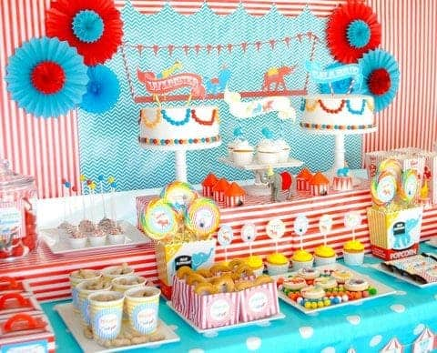 Circus Party: Come one, come all to the Birthday Circus.  Step right up for a Birthday Circus Party!  Be sure to check out all our Circus Party Ideas!! #circus #party #partyideas #parties #birthday #kids