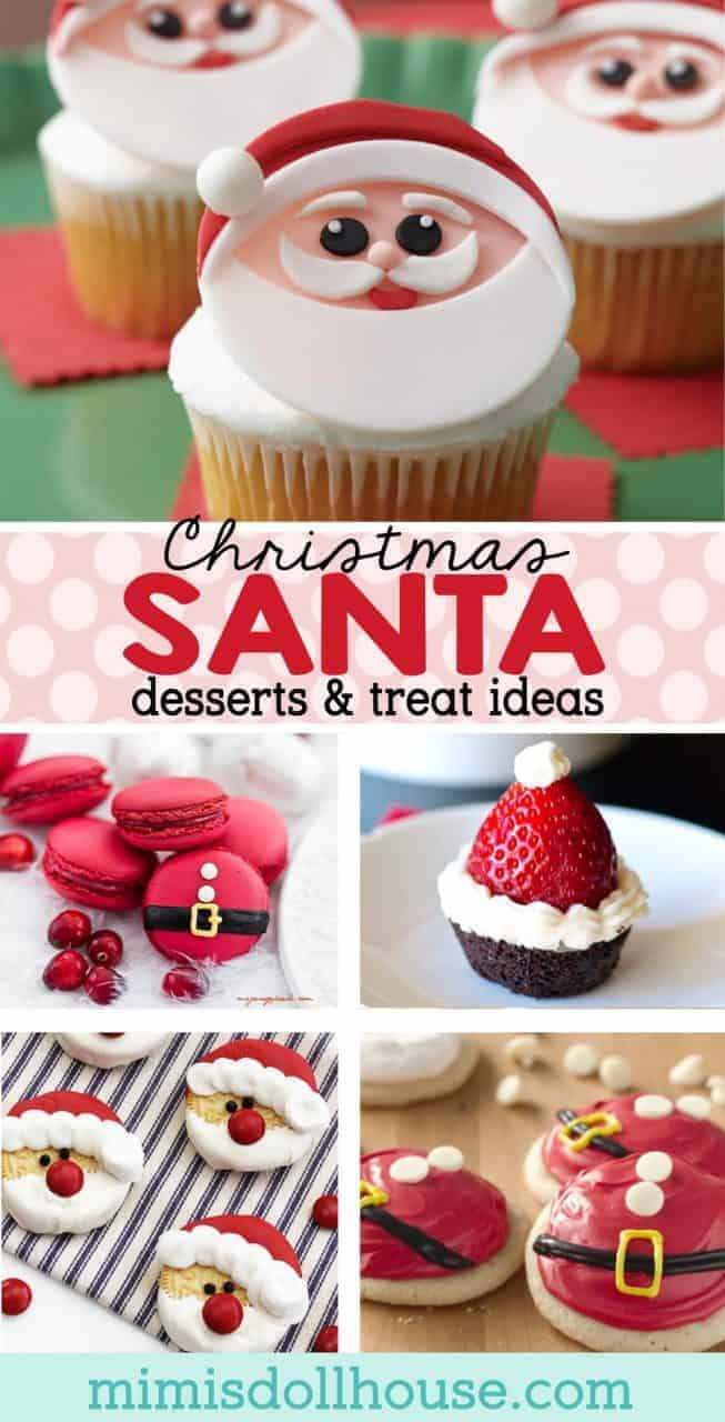 Christmas Treats: Easy Santa Desserts and Food Ideas. Merry Christmas:) Ho, Ho, Ho, Santa is making his way to the blog today. These adorable Christmas treats are all Santa inspired! #christmas #baking #holiday #winter #santa #desserts #holidaybaking #holidaytreat #diy #cookies