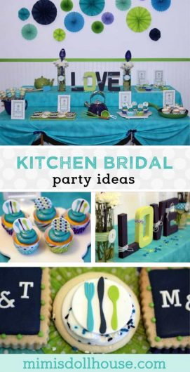 Looking for a fun and creative way to celebrate a bride to be. Why not incorporate useful gifts into your decor and throw a kitchen bridal shower. Perfect for your best friend or sister! #bridalshower #wedding