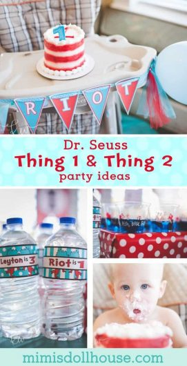 Looking for a perfect birthday ideas for twins or just want to celebrate two kids at once? Dr. Seuss Thing 1 and Thing 2 is the party for you! This party is full of party treats and birthday party ideas. #drseuss #birthdayparty