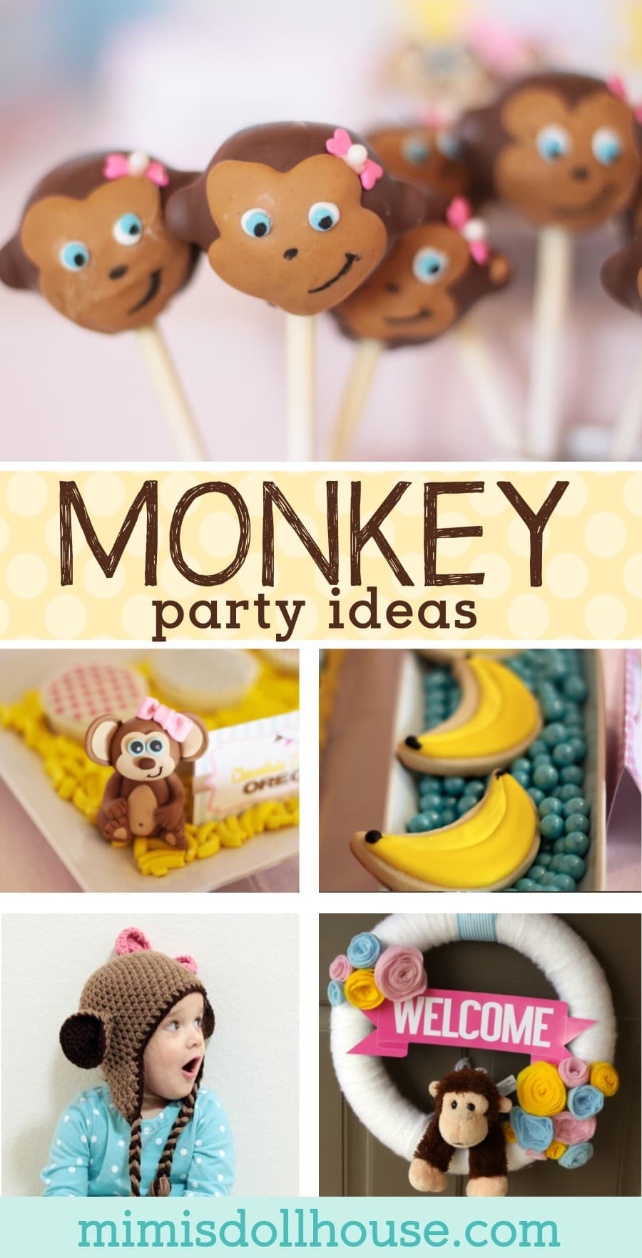 Monkey Party: Curious Emma is Turning Three! Let's Go Bananas with this cute little girly Monkey Party!! Looking for more Monkey party ideas? Be sure to check out these monkey party activities, this Monkey headband tutorial and this diy ruffled tableskirt.  #party #parties #partyideas #monkey #kids #birthday #diy #baking