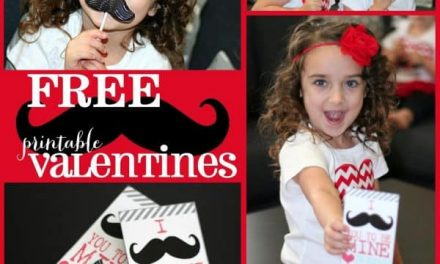 Free Printable Mustache Valentines + Valentine Tutorial