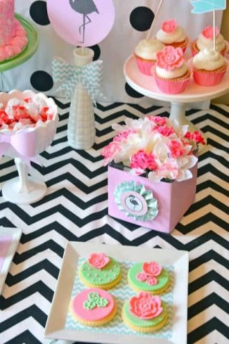 Flamingo Party: Chic Chevron and Pastel Flamingo Party-Mimi's Dollhouse