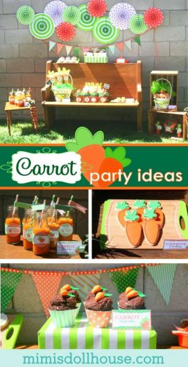 Easter Party...carrot themed:) Looking for a fun, kid-friendly Easter party idea? How about an bright green and orange carrot party? Check out all the fun details!!! #easter #party #partyideas #parties #holiday #baking #carrot #kids