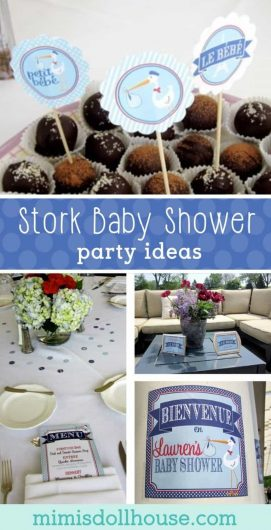 Throwing a baby shower? This French Stork baby shower is full of baby shower ideas, food and more. Treat a posh mom to a sophisticated stork themed baby shower.