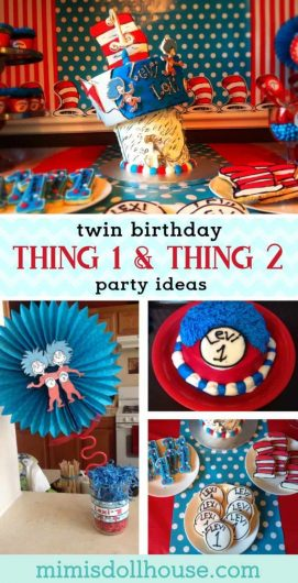 Looking for party ideas for twins? Throw a Sr. Seuss Thing 1 and Thing 2 party for your twins. This party is full of adorable cat in the hat party ideas, food, favors and more! #catinthehat #thing1 #thing2 #twinparty #twinbirthday #birthdayparty #partyideas