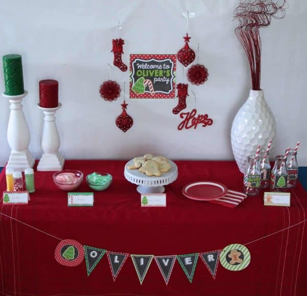 Christmas Cookie Party: Cookie Decorating Party.  When your little one's birthday falls near Christmas, A Christmas Cookie Party is the perfect December birthday party theme. #christmas #holiday #kidbirthday #kidsbirthday #parties #christmascookie #diy #crafts #partyideas