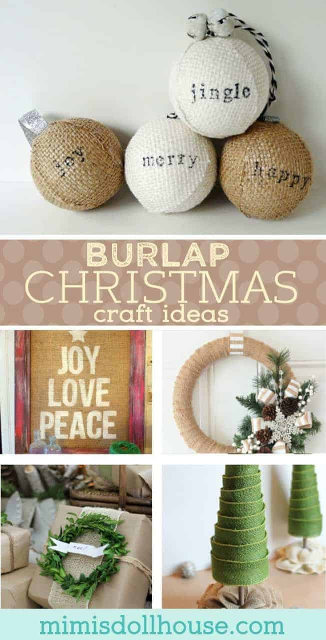 Christmas: Burlap Christmas Crafts.  Looking to decorate this Christmas with a vintage flair?  Check out these awesome Christmas Craft ideas using burlap. #christmas #diyandcrafts #crafts #diy #holiday #burlap #vintage #christmasdecorations #parties #homedecor #home