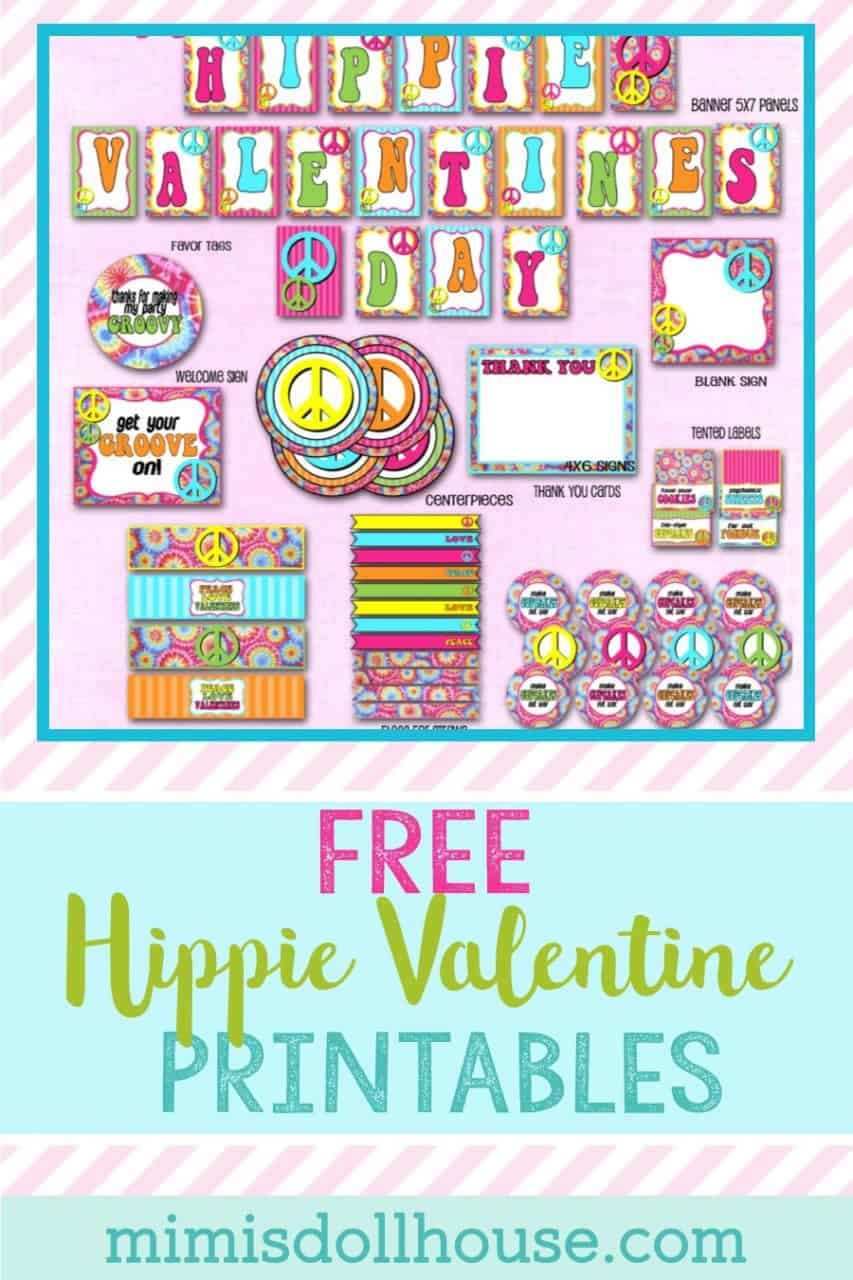 Looking for some FREE Valentine party decorations?  Party like its 1965 with these free Hippie Valentine's Day printables.  #freeprintables #printables #hippie #kidparties #partyideas #holiday #valentine #valentinesday