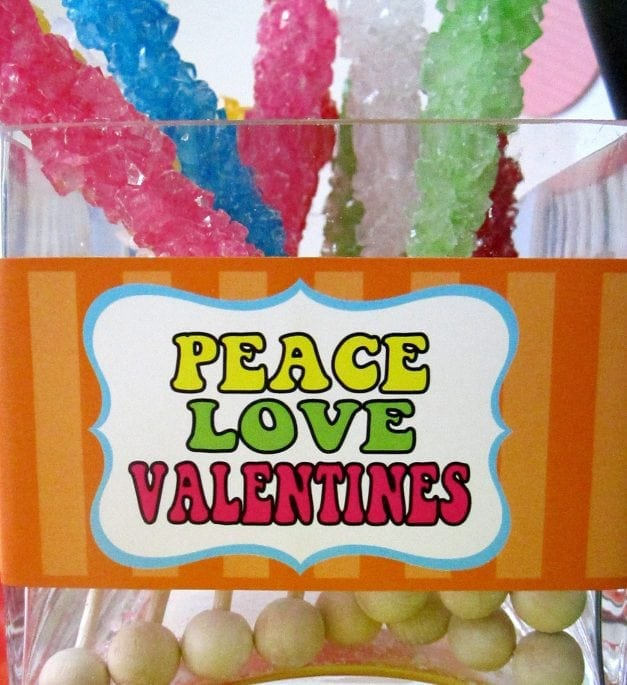 Valentine's Day: Hippie Valentine's Day Party.  Today I'm sharing a GROOVY Hippie Valentine's Party using our Hippie Valentine's Day Collection.  These Free Valentine's Printables are super retro and fun! #valentine #valentinesday #valentinesparty #parties #partyideas #holiday #crafts #baking #cake