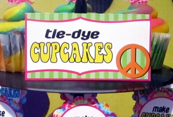 tie dye cupcake sign close up