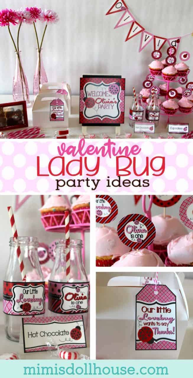 Ladybug Party: A Little Lovebug Valentine Party.  Have a sweet little lady with a Valentine Birthday?  Whether you just love ladybugs or need a valentine birthday party idea, this ladybug party is perfect for your little cutie!  #valentines #party #parties #kidparty #ladybug #girl #girlparty #firstbirthday #holiday #printable