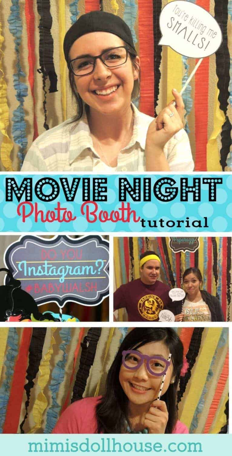 Movie Night Party: Photo Booth Tutorial.  Today I'm sharing the details of the fun movie night photo booth from our Movie Night Baby Shower!  Be sure to check out all of our Movie Night Party ideas and inspiration.