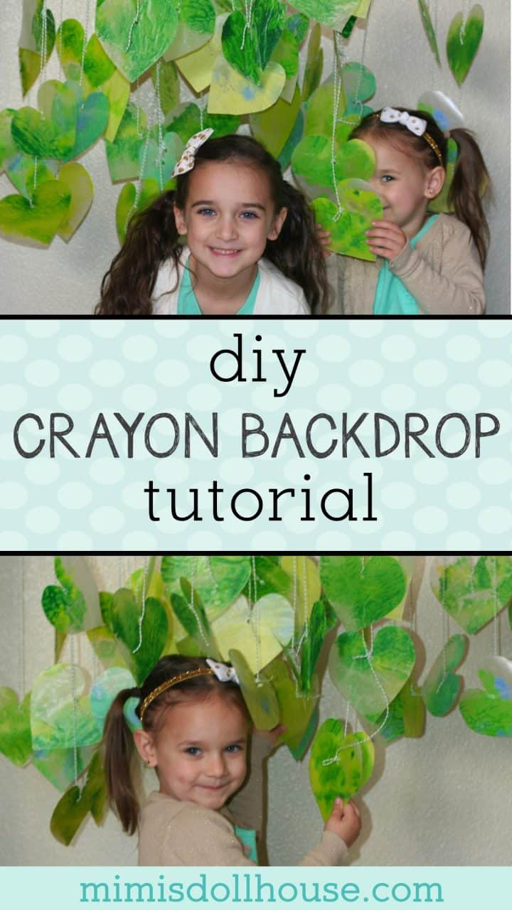 St. Patrick's Day: DIY Crayon Backdrop Tutorial. We recently took some fun and festive St. Patrick's Day photos and today I'm sharing this super easy and fun DIY crayon backdrop we made. This is a great St Paddy's Day DIY project. #spd #stpaddysday #stpatricksday #holiday #crafts #diy #holiday #parties #party #partyideas