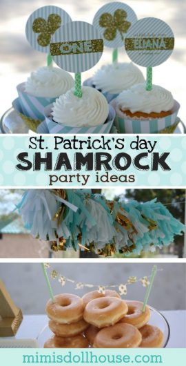 St. Patrick's Day: Eliana's Mint Shamrock Party. Want a simple, elegant idea for your little St. Paddy's Day baby?  Today I'm sharing this sweet Mint Shamrock Party. #spd #party #partyideas #parties #holiday #stpaddysday #stpatricksday #crafts #firstbirthday #diy
