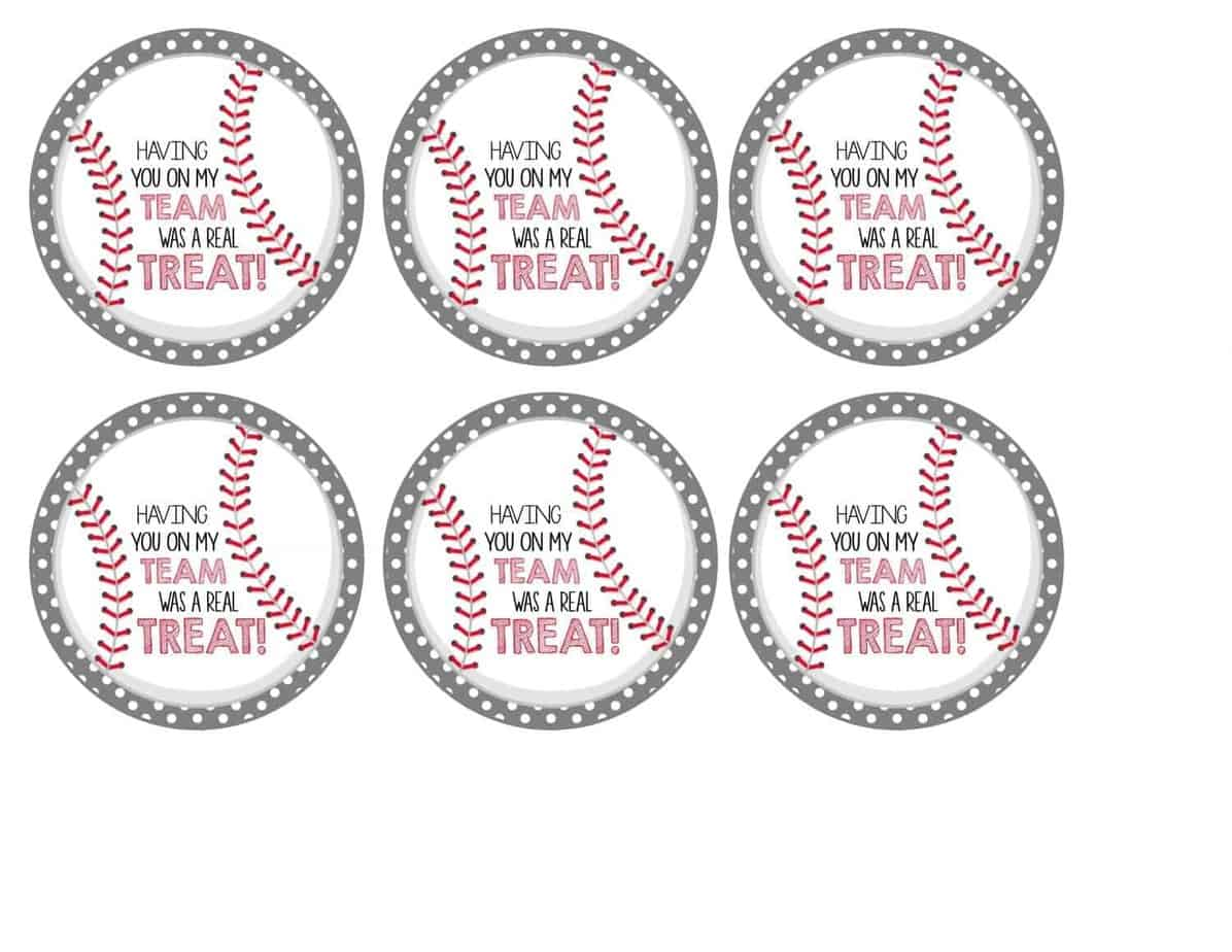 picture relating to Free Printable Baseball Tags titled Free of charge Baseball Tags + Rice Krispies Treats® Mimis Dollhouse