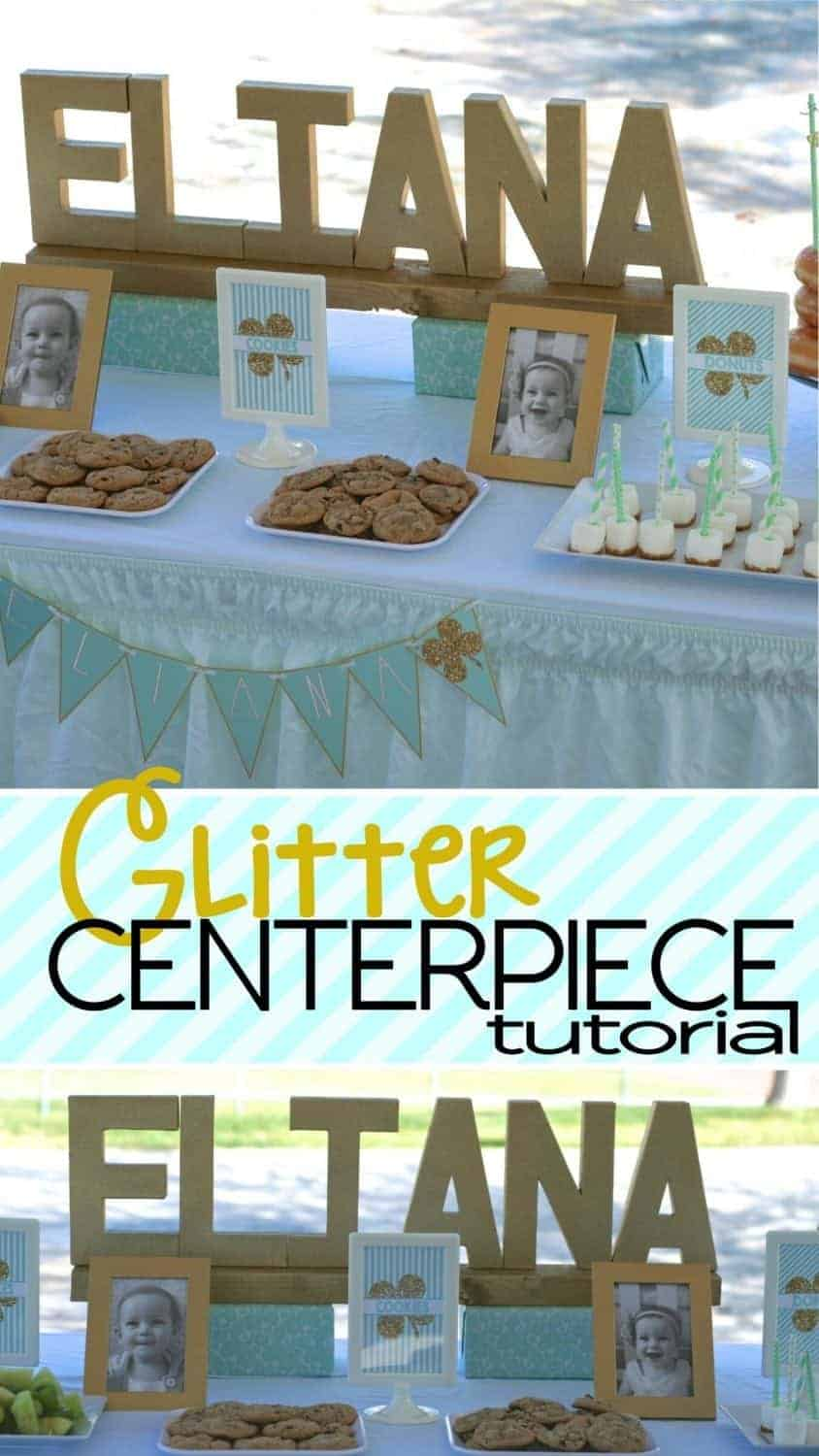 Mint Shamrock Party: Glitter Name Centerpiece Tutorial. Today I'm sharing a tutorial on how to make the easy peasy glitter name centerpiece from my Mint Shamrock Party. Be sure to check out all of our St. Patrick's Day ideas and inspiration. #craft #tutorial #diy #holiday #party #parties #partyideas #glitter