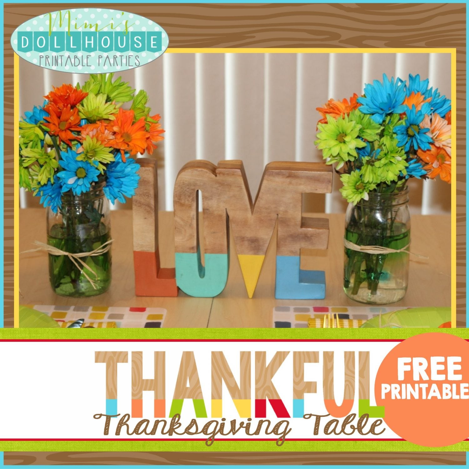 Thanksgiving: Colorful Rustic FREE thanksgiving printables
