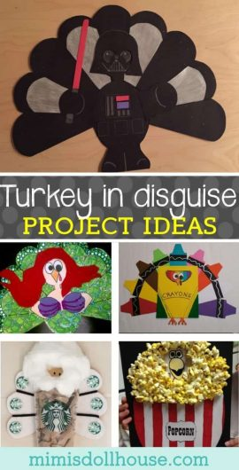 Thanksgiving: Turkey in Disguise School Project.  Today I'm sharing some fun turkey disguise ideas to do with your little ones. These are perfect for Thanksgiving school projects or just hanging out at home crafting with your kiddos. #turkey #schoolprojects #fall #thanksgiving #crafts #turkeydisguise #diy #kindergarten