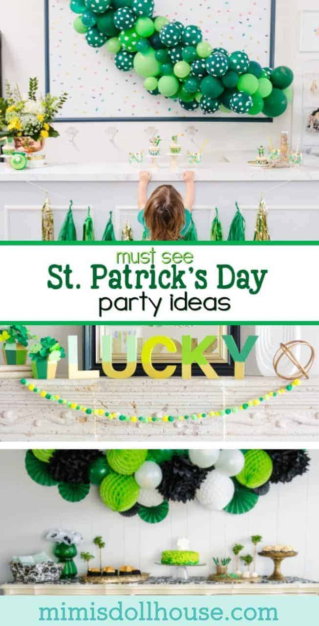 St. Patrick's Day: Must See St. Paddy's Day Parties.  It's your lucky day!!  Today I'm sharing 5 St.  Patrick's Day Parties I know you will love! #stpatricksday #rainbow #holiday #baking #diy #kids #party #partyideas #parties #crafts