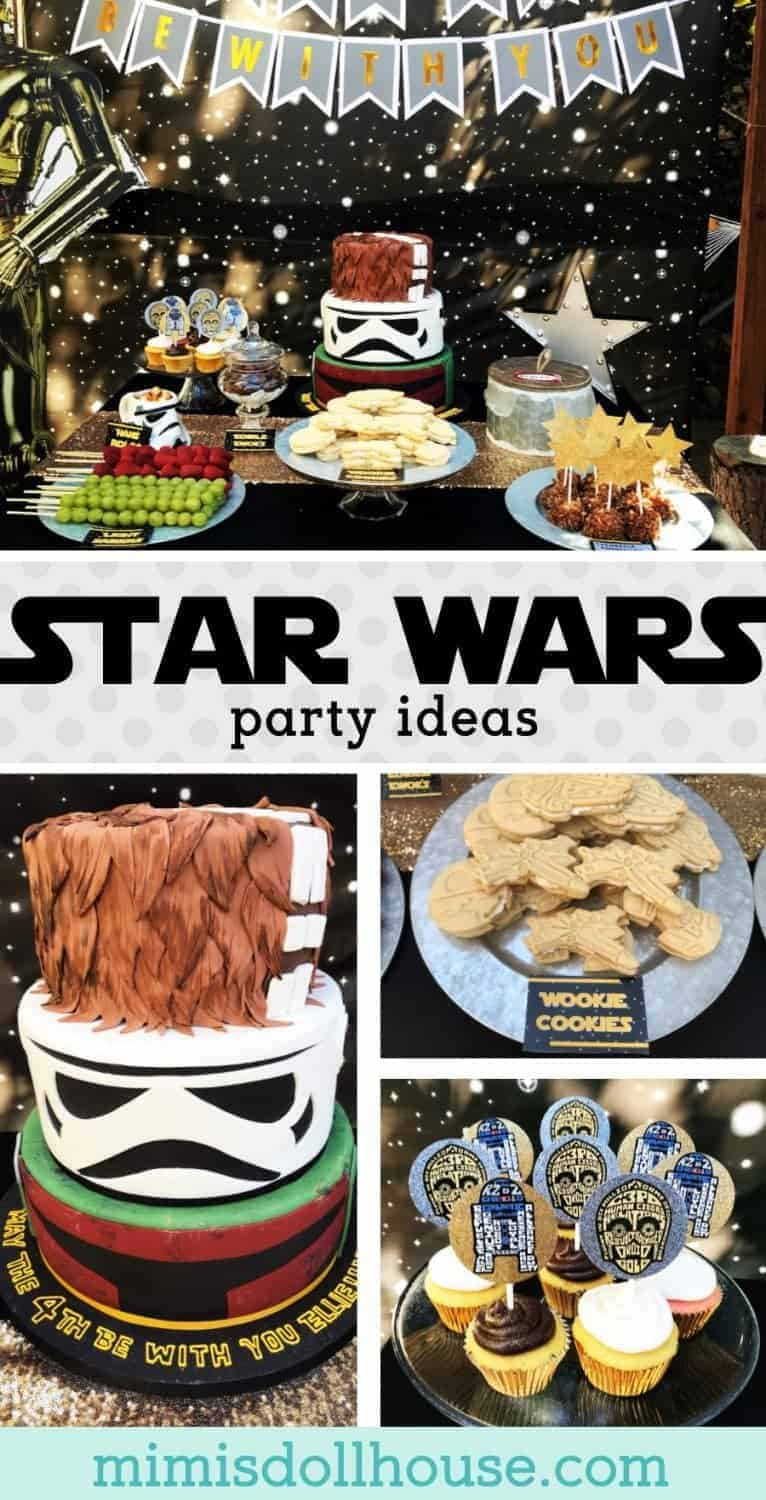 Star Wars Party: May the FOURS be with you! Looking for Star Wars party birthday decorations ideas? This party is full of fun Star Wars party ideas ans fun star wars treats! #starwars #birthdayparty #decorations