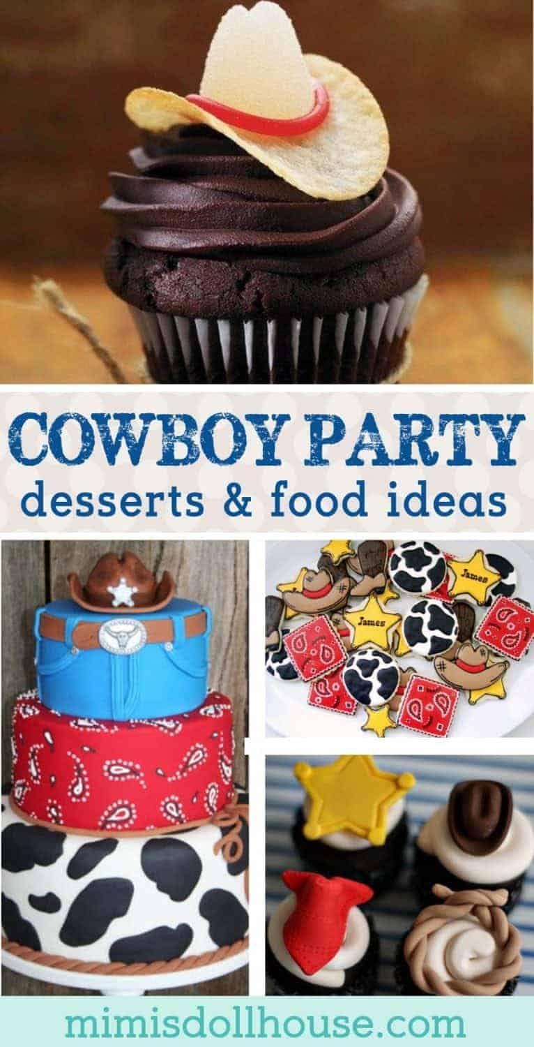Yee-haw!  Throw a rootin' tootin' cowboy birthday party with these amazing cowboy themed desserts! I'm sharing the yummiest, wildest  western-themed party foods this side of the Mississippi today!! Looking for western-themed party ideas?  Be sure to check out this Wild West Party, Cowboy Party and all our cowboy inspiration and ideas!