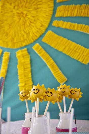 Sunshine Party: 10 You Are My Sunshine Parties you will LOVE. Looking for some awesome sunshine party ideas. Sunshine and bright colors make for the perfect springtime birthday party.  Today I'm sharing some simply adorable Sunshine Birthday Parties. Be sure to check out all of our Sunshine Party Ideas and Inspiration.